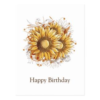 Personalisierte Vintage hübsche Sonnenblumen Postkarte