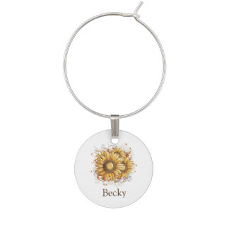 Personalisierte Vintage Sonnenblumen Glasmarker