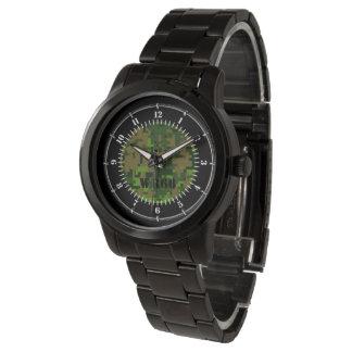 Personalisierte Waldgrün-Tarnungs-Uhr Handuhr
