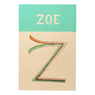 Personalisierte Wandkunst des Alphabet-Buchstaben Holzleinwand
