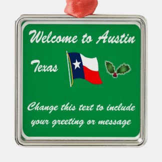 Personalisierte Weihnachtsverzierung Austins TX Silbernes Ornament