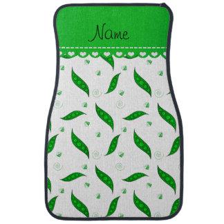 Personalisierte weiße grüne Namenspeapods Autofußmatte