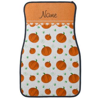 Personalisierte weiße orange Namenskürbise Autofußmatte