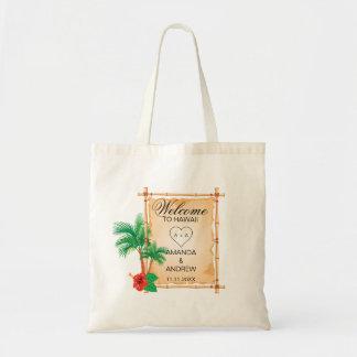 Personalisierte WILLKOMMENE Palmen-Bambushochzeit Tragetasche