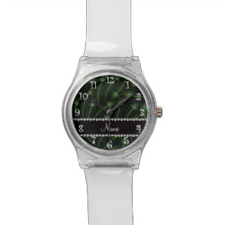 Personalisierte Wirble schwarze Pfaunamensfedern Armbanduhr