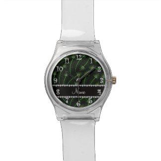 Personalisierte Wirble schwarze Pfaunamensfedern Uhr