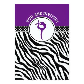 Personalisierte Zebra-Druck-Gymnastik in Lila Karte