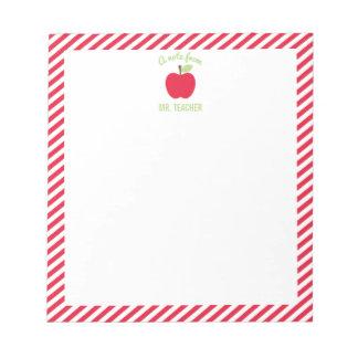 Personalisierter Apple-Lehrer-Notizblock, rot Notizblock