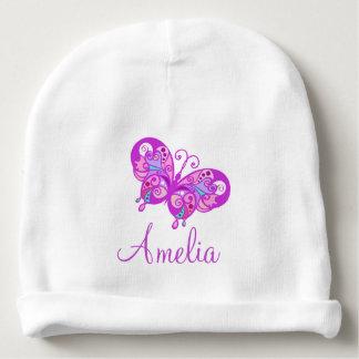 Personalisierter Baby-Namen-lila Schmetterling Babymütze