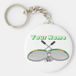 Personalisierter Badminton-Spieler gekreuzte Schlüsselanhänger