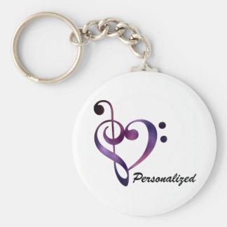 Personalisierter Bass-und dreifacher Clef-Herz Schlüsselanhänger