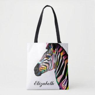 Personalisierter bunter Pop-KunstZebra Tasche