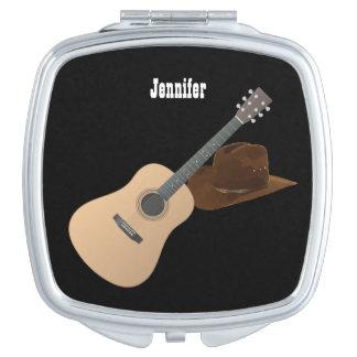 Personalisierter Cowgirl-Hut und Gitarre Schminkspiegel