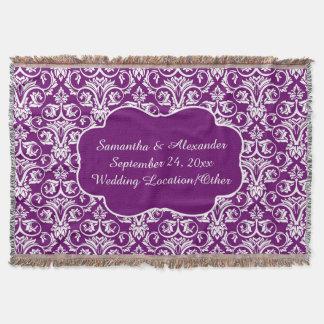 Personalisierter Damast-Hochzeit/Andenkenlila Decke
