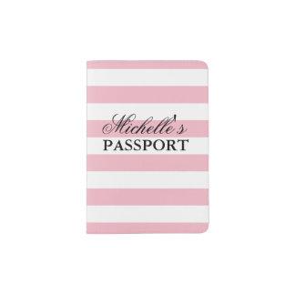 Personalisierter eleganter rosa gestreifter passhülle