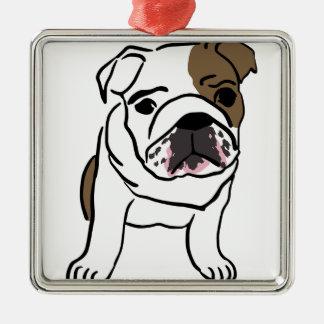 Personalisierter englischer Bulldoggen-Welpe Quadratisches Silberfarbenes Ornament