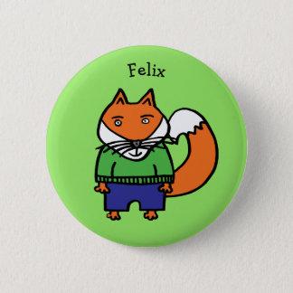 Personalisierter Felix der Fox Runder Button 5,1 Cm