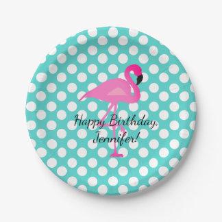 Personalisierter Flamingo und Pappteller