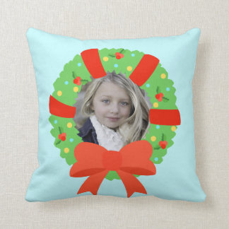 Personalisierter Foto-WeihnachtsWreath Kissen