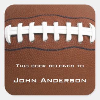 Personalisierter Fußball-Buchzeichen-Aufkleber Quadratischer Aufkleber