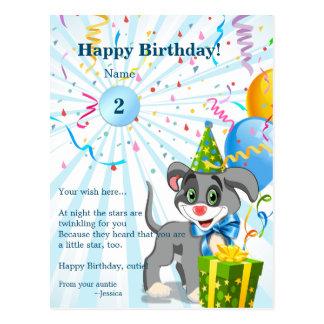 Personalisierter Geburtstags-Welpen-Cartoon Postkarte