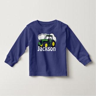 Personalisierter grüner Bauernhof-Traktor Kleinkind T-shirt