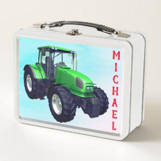 Personalisierter grüner Bauernhof-Traktor Metall Lunch Box