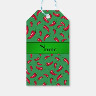Personalisierter grüner Chilinamenspfeffer Geschenkanhänger