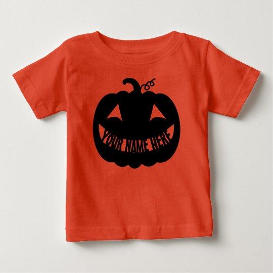Personalisierter Halloween-Kürbis Baby T-shirt