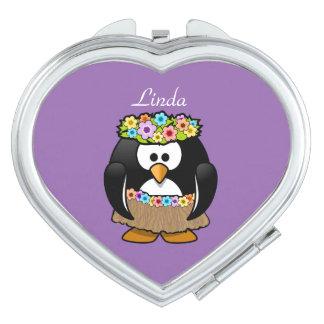 Personalisierter hawaiischer Penguin Taschenspiegel