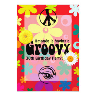 Personalisierter Hippie Themed Party Karte