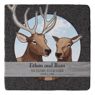 Personalisierter Hochzeits-Jahrestag, Elch-Paar Töpfeuntersetzer