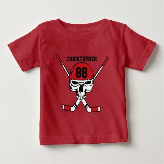 Personalisierter Hockeyschädel und -stöcke Baby T-shirt
