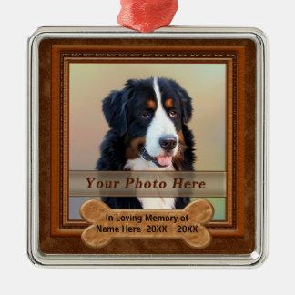 Personalisierter Hund Erinnerungsgeschenke IHR Quadratisches Silberfarbenes Ornament