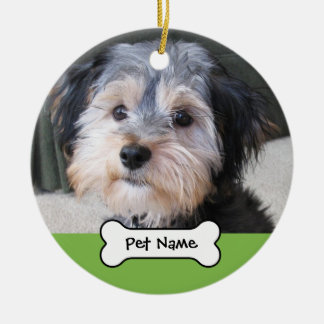 Personalisierter HundeFoto-Rahmen - EINSEITIG Keramik Ornament