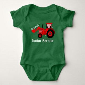 """Personalisierter """"JuniorBauer"""" und roter Traktor Baby Strampler"""