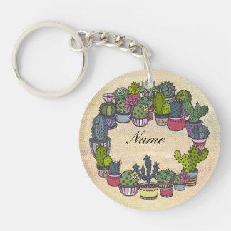 Personalisierter KaktusWreath Schlüsselanhänger