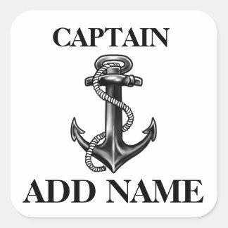 Personalisierter Kapitän Name Navy Anchor und Seil Quadratischer Aufkleber