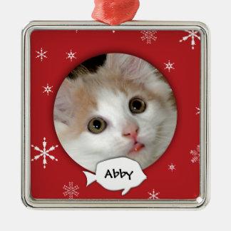 Personalisierter Katzen-Foto-Feiertag Quadratisches Silberfarbenes Ornament