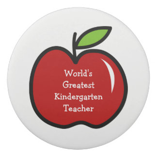 Personalisierter Kindergartenschullehrer-Rotapfel Radiergummis 0