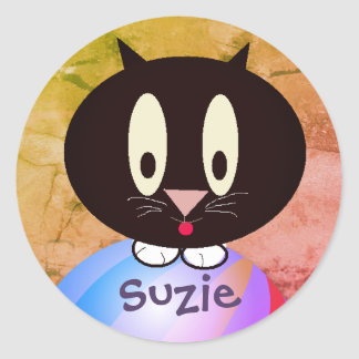 Personalisierter Kitty Runder Aufkleber