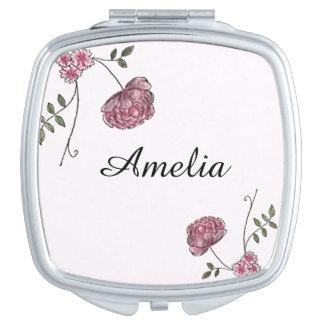 Personalisierter kompakter Spiegel verziert mit Schminkspiegel