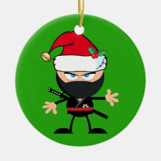 Personalisierter Krieger Weihnachtsmanns Ninja Keramik Ornament