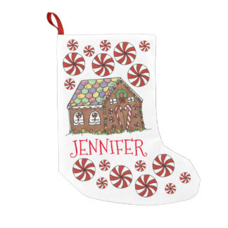 Personalisierter Lebkuchen-Haus-WeihnachtsStrumpf Kleiner Weihnachtsstrumpf