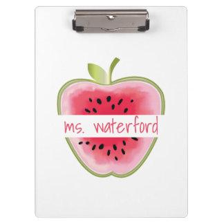 Personalisierter Lehrer Wassermelone-Apples Klemmbrett