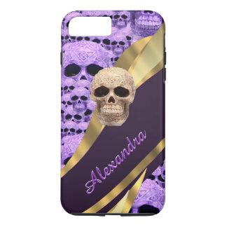 Personalisierter lila gotischer Schädel iPhone 8 Plus/7 Plus Hülle