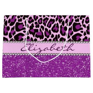 Personalisierter lila Leopard-Druck-Glitter Große Geschenktüte