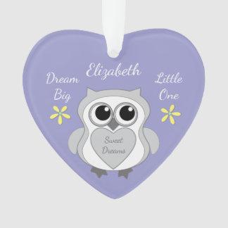 Personalisierter lila niedlicher Eule Ornament
