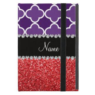 Personalisierter lila quatrefoil Rot-NamensGlitter iPad Mini Schutzhüllen