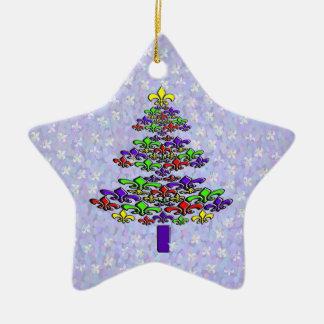 Personalisierter Lilien-Weihnachtsbaum-Stern Keramik Stern-Ornament